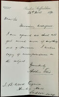 Arthur Ellis Solicitor Burslem, Staffordshire Letter dated 26th November 1890