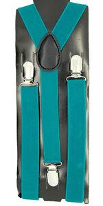 """Unisex Clip-on Braces Elastic """"Jade Dome"""" Color Y-back Adjustable Suspender"""