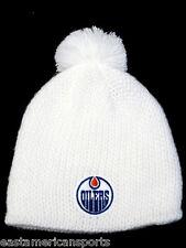 Edmonton Oilers NHL Reebok White Pom Ball Knit Hat Cap Ski Snow Winter Beanie