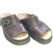 Dr. Air Martens Women's US 6 UK 5 Brown Leather Slides Platform Sandals Buckle