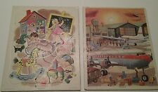 Set of 2 Vintage Playskool puzzles Golden Press Air planes children playing