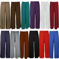 New Womens Plus Size Flared Palazzos Trousers Wide Leg Stretch Pants 8-30