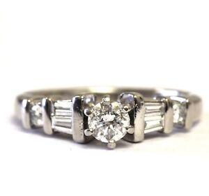 Platinum .56ct VS G SI2 I round diamond engagement ring 7.5g vintage estate