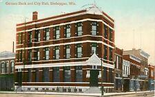 Sheboygan Wisconsin~German Bank and City Hall~Enterprise~1910 Postcard