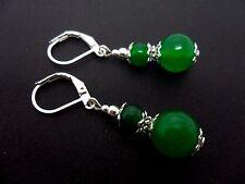 Un par de Verde Jade Plata Plateado Gota Gancho Gancho Pendientes Colgantes. Nueva.