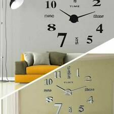 3D Wall Clock Watch Large Modern Home Decor DIY Sticker Decal Roman Numeral Hot