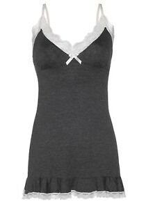 Leg Avenue Women's Seraphina Lace Trimmed Jersey Nightie, Grey/Off White