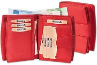 Rinaldo® Damen Geldbörse mit besonders vielen Fächern in Rot aus weichem Leder