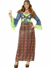Curves Hippie Lady Costume, XL, 1960s 70s Fancy Dress, Womens, UK 20-22