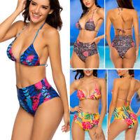 Women's High Waist Bikini Set Swimwear Swimsuit Floral Beachwear Bathing Suit