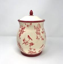 Bird Floral Cookie Jar with Lid Handmade