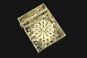 👍19TH CENTURY CHINESE EXPORT STERLING SILVER FILIGREE CASE WITH HALLMARK 古董纯银丝盒