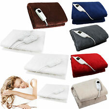 Electric Heated Throw Over Under Blanket Washable Polyester Cozy Warm Mattress
