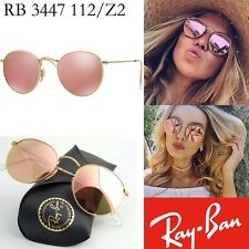 New Ray-Ban Pink Mirror Lenses ROUND Metal Matte Gold RB 3447 112/Z2  Sunglasses