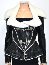 BYRON LARS Luxury Black Leather Faux Shearling Silver Toggle Jacket RARE! SM/MED