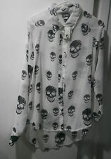 Dots SKULL Print Top Large Neck Sheer Blouse Long Sleeve White Black