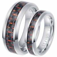 His And Hers Red Carbon Inlay Matching Engagement Wedding Ring Set - UK SELLER