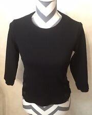XS Cabi Women's 3/4 Sleeve Utility Blouse Black Side Snap Button Detail Zips