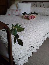 Antico Francese c1920 tessile ~ Mano/ago uncinetto pizzo letto copriletto/tabella Topper
