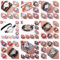 Fashion Women Bracelet Crystal Glass Watch PU Leather Quartz Bangle Wrist XMAS