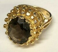 Vintage 14K Yellow Gold With Oval Shape Smoky Topaz Ring
