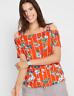 BPC Bonprix Red Printed Floral Cold Shoulder Cut out Tunic Top Size 14 / 16 NEW