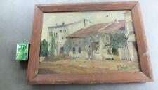 Ancien tableau huile sur toile scène campagnarde dans cour de ferme signé SABIDE