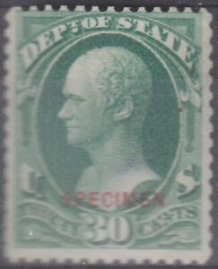 US Official Department of State Hamilton 30 cent Specimen Sc O66 cv $550