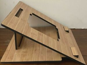 Laptop Stand Wood Bamboo Computer Riser Ergonomic Elevator for Desk with Heart