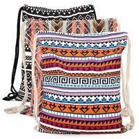 Boho School Drawstring Bag Sport Gym Sack Swim PE Kit Shoe Sport Canvas Backpack