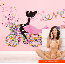 Family Wall Sticker Removable PVC Flower Cycling Girls Wall Decals Art Stickers