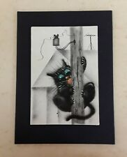 Original Painting Black Kitten Adventures Small Size Art 5in x 3.5in
