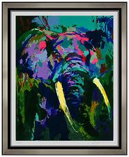 LeRoy Neiman Elephant Portrait Color Serigraph Signed Animal Artwork Stampede