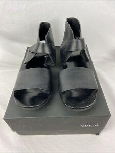 Vince Black Flat Sandals Womens Black Zelcro Size 9.5