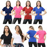 Woman's Ladies Girls Plain Short Sleeve V-NECK T-Shirt Top Plus Size Tops Shirts