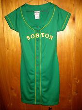 Boston Celtics Green Button Dress Womens Size Medium White Yellow Stitched Logo