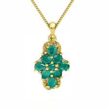 Natural Colombian Emerald Cluster Pendant 14k Yellow Gold over Sterling Silver