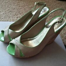 Tommy Hilfiger Nude & Lime Trim Wedges Size 9M