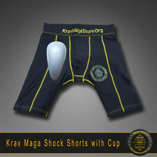 "KRAV MAGA SHOCK COMPRESSION SHORTS WITH CUP - SMALL Size 30"" Male Anatomy"