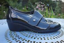 CINZIA SOFT BLACK PATENT ITALIAN LEATHER SHOES,SLIP ON,COMFORT,GRIGIO,38,$195
