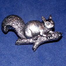 Lovely Pewter Squirell on a Branch Pin Brooch