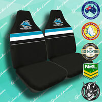 NEW! CRONULLA SHARKS FRONT CAR SEAT COVERS, OFFICIAL NRL, AIRBAG COMPATIBLE