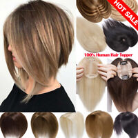 Silk Mono Base Real Human Hair Topper Hairpiece For Women Brown Clip In Soft HG