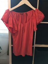Ted Baker Size 3 UK Size 12 Pink Silk Blend Ruffle Short Sleeve Top (F11)
