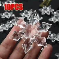10Pcs Clear Acrylic Crystal Hanging Snowflake Christmas Tree Hanging Decor XMAS