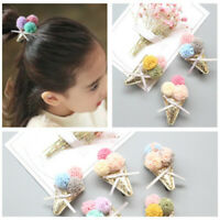 KE_ AU_ Children Girl Colorful Pompom Ice Cream Hairpin Hair Clip Bow Barrette