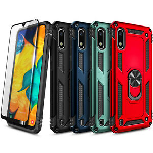 For Samsung Galaxy A10e Phone Case, Ring Stand Cover + Tempered Glass Protector