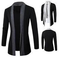 New Fashion Men's Stylish Slim Fit Knit V-Neck Cardigan Long Sweater Coat Jacket
