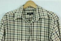 Zanella Plaid Shirt 100% Cotton Button Down One Pocket Large Made in Italy