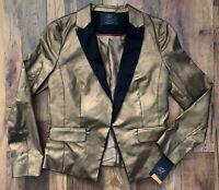 ZARA Blazer Size Large BRONZE | SMART Casual JACKET Party Office NEW